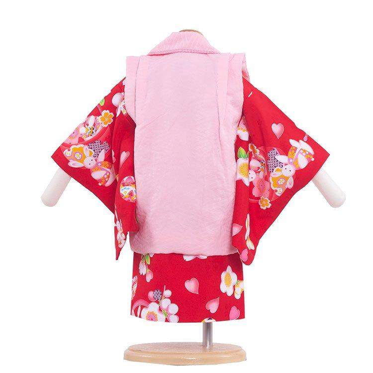 ベビー着物(女)330 赤/兔と花