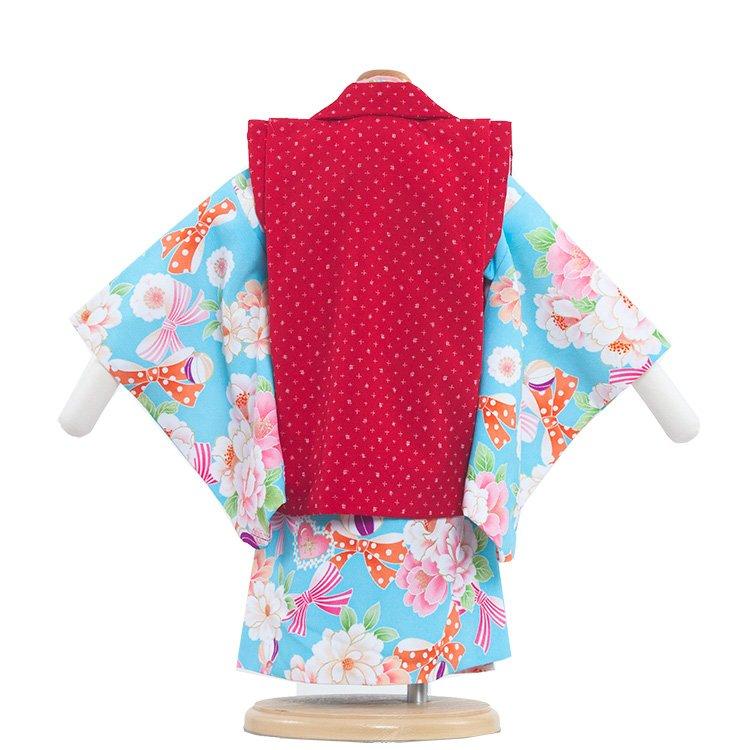 ベビー着物(女)307 水色/赤の被布