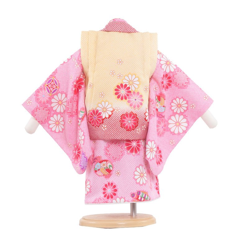 ベビー着物(女)324 ピンクの絞り調/毬