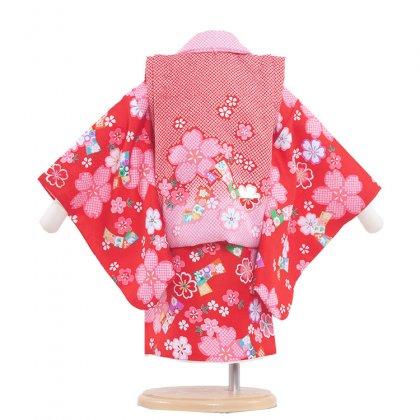 ベビー着物(女)326 赤/可愛い花