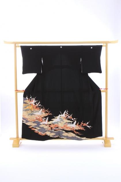 黒留袖200金箔に鶴 松梅青海波
