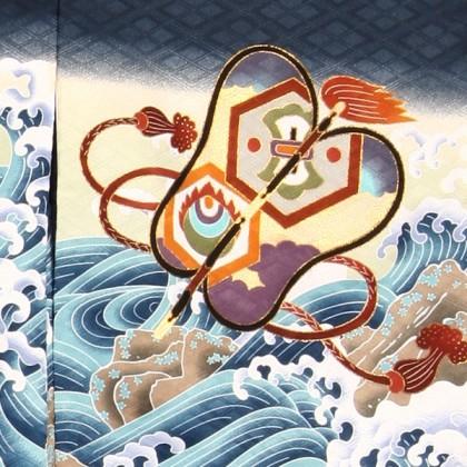 七五三(3男)3090 青/鷹と波