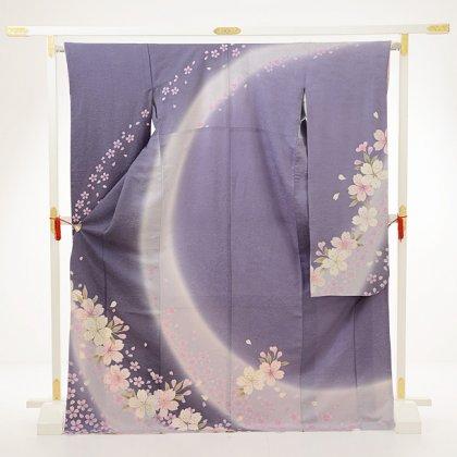 振袖E057 ラメ入りライトパープル桜花
