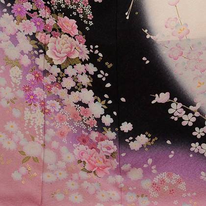 振袖E080 白黒染め分ピンク牡丹