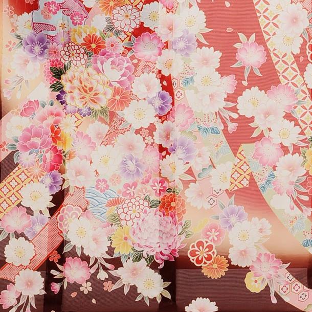 夏振袖900 赤地のしめ花