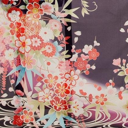 夏振袖906 紫地古典花