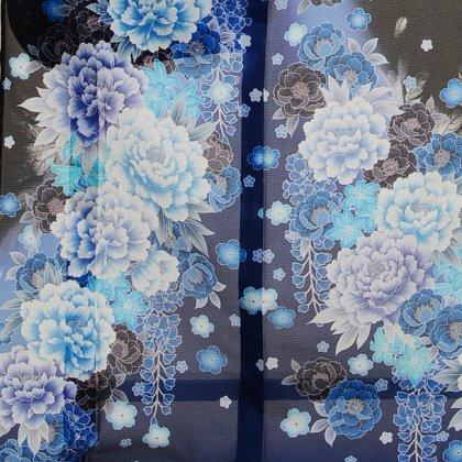 夏振袖908 黒ブルー花