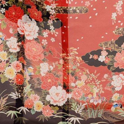 夏振袖901 赤×黒 雲取り花