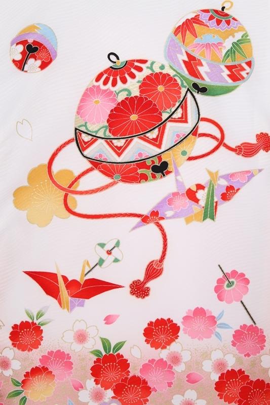 女児産着90白地に手まり桜