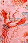 女児産着156ピンクつづみ柄裾赤たたき