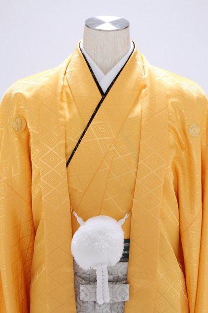 紋付袴321/山吹色/シルバー花菱ぼかし