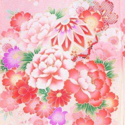 女児産着31(正絹)ピンク地/毬と華