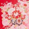 お宮参り女児36(正絹)赤地/蝶と花車