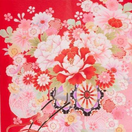 女児産着36(正絹)赤地/蝶と花車