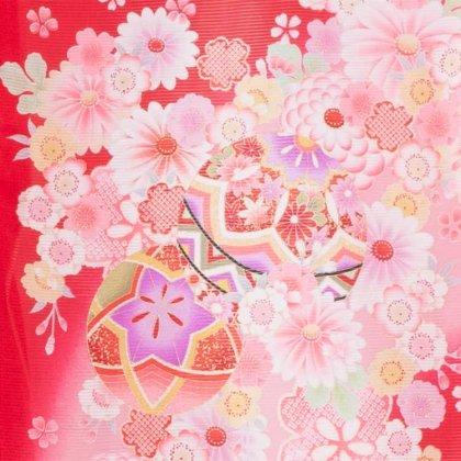 女児産着34(正絹)赤地/毬と小華