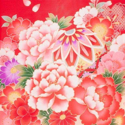 お宮参り女児32(正絹)赤地/毬と華