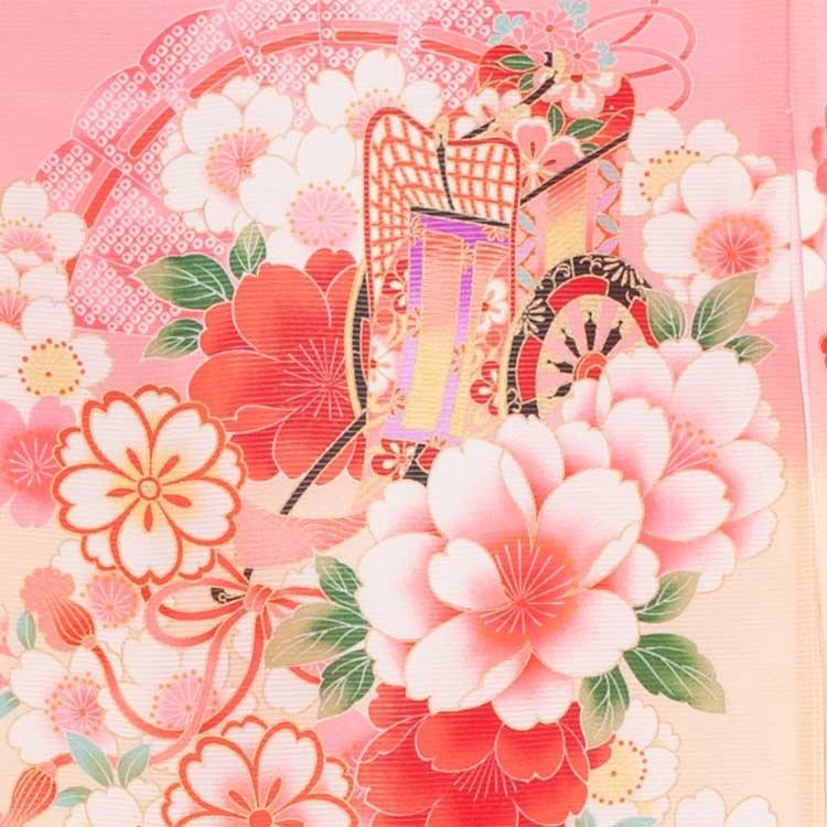 お宮参り女児37(正絹)ピンク地/毬と花車