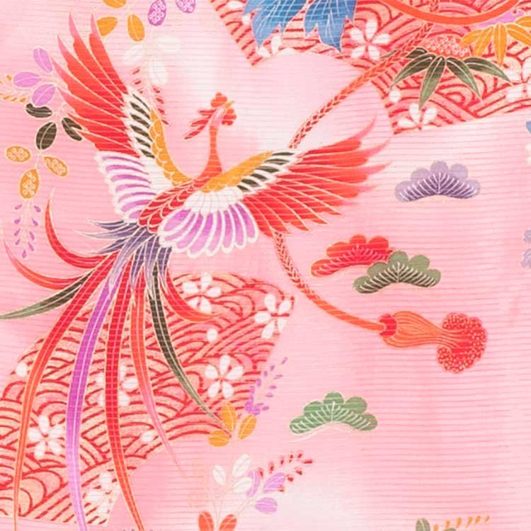 女児産着42(正絹)赤地/駒と鳳凰