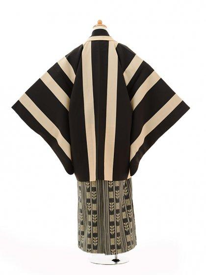 ジュニア袴男児9106黒ベージュ縞×黒ゴールド袴