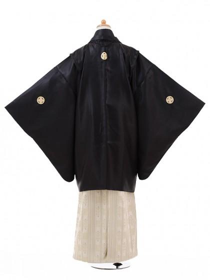ジュニア袴男児9330黒紋付×ベージュゴールド袴
