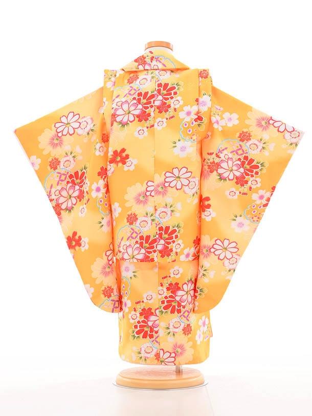 753レンタル(3歳女被布)0364黄色雪輪花