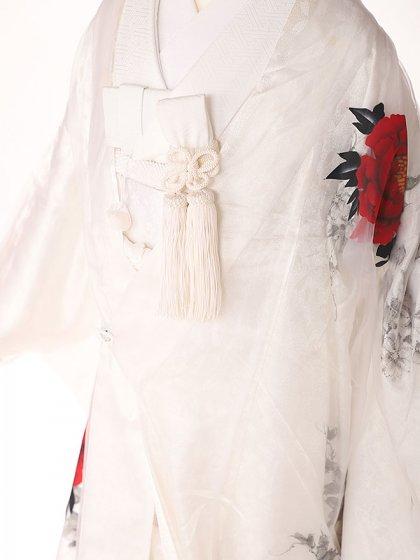 色打掛ホワイトオーガンジー赤薔薇3171