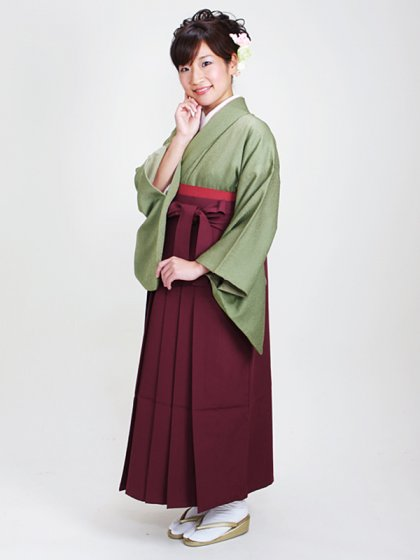 卒業式袴 正絹 グリーン 83【身長160cm位】