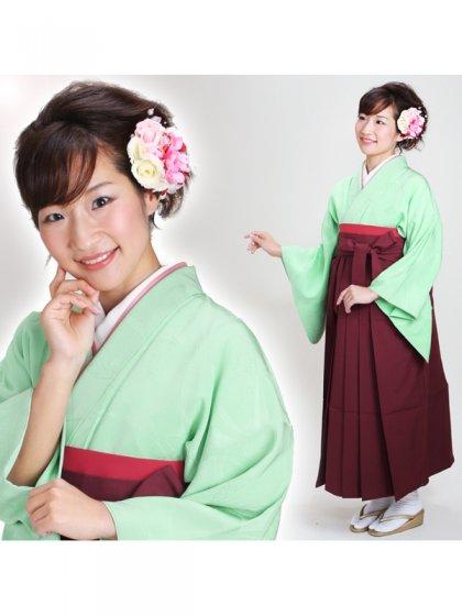 卒業式袴 正絹 薄緑 25【身長160cm位】