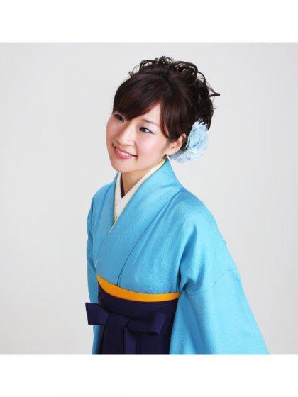 卒業式袴 正絹 濃ブルー 74【身長160cm位】