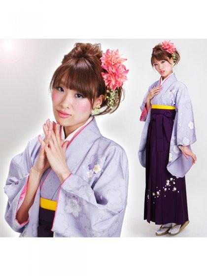 卒業式袴 パープル 桜 0278【身長170cm位】