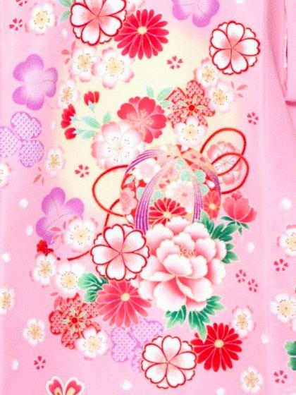 女児産着1059 ピンク地/洋花と白うさぎ