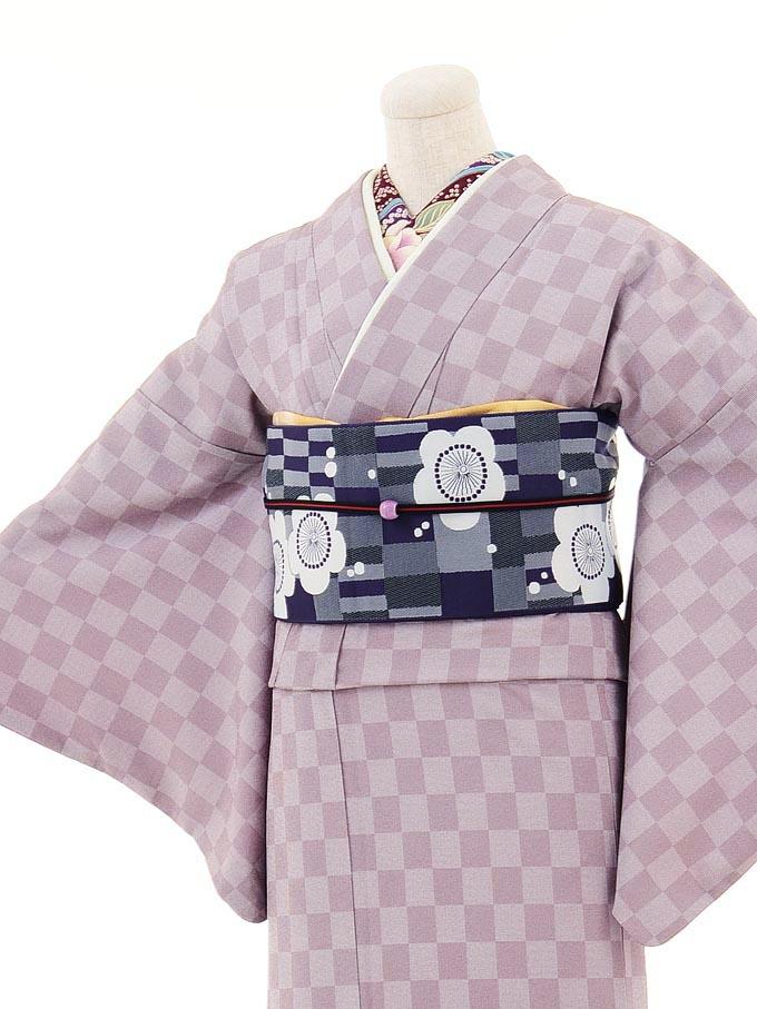 【コーデ】小紋0001 薄紫 市松模様