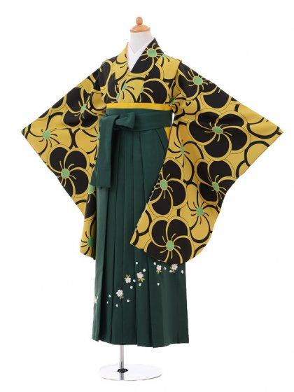 小学生卒業式袴女児9314 黄色黒梅×グリーン袴