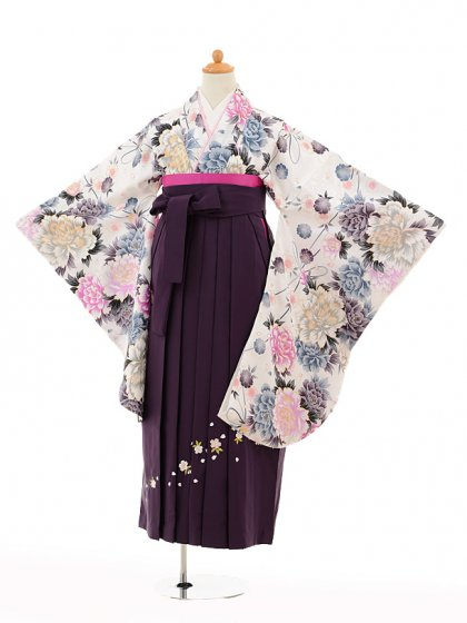 小学生卒業式袴女児9180 白地牡丹×パープル