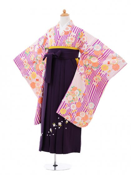 小学生卒業式袴女児9352 紫ストライプ花×紫袴