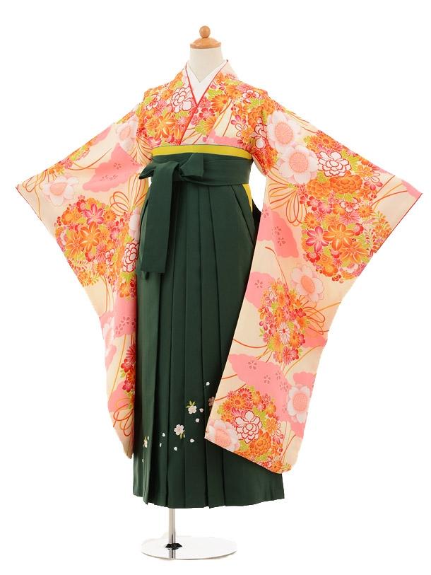 小学生卒業式袴レンタル(女の子)9222 小町クリームピンク×グリ
