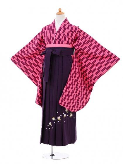 小学生卒業式袴女児9295 ピンク紫矢絣×パープ