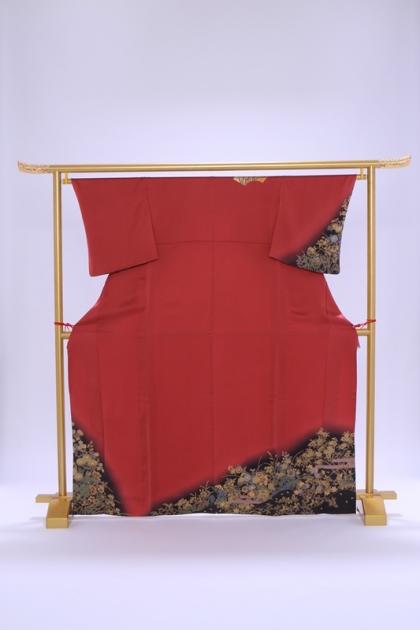 付下げ(単衣)57海老茶に裾納戸色ぼかし 金