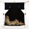 黒留袖レンタルE139 流水松に色紙