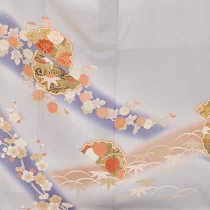 色留袖レンタル524グレー裾に梅