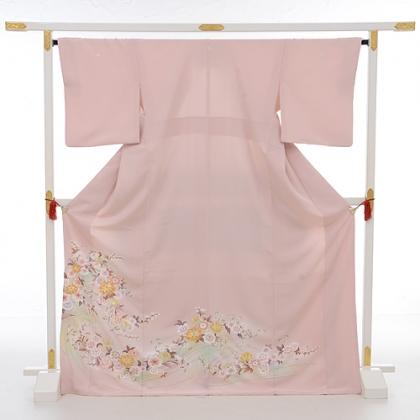 色留袖レンタル606サーモンピンク多色花