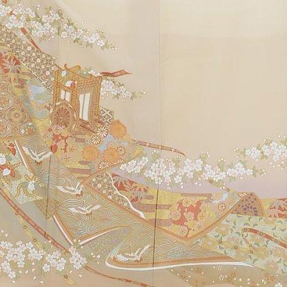 色留袖レンタル652桂由美クリーム色御所車と桜