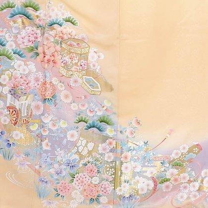 色留袖レンタル635クリーム色花づくし
