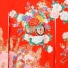 女児産着5n67赤/ピンク 蝶 花車