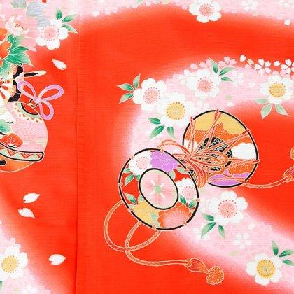 女児産着5n93絽-夏用 赤地 花車と鞠