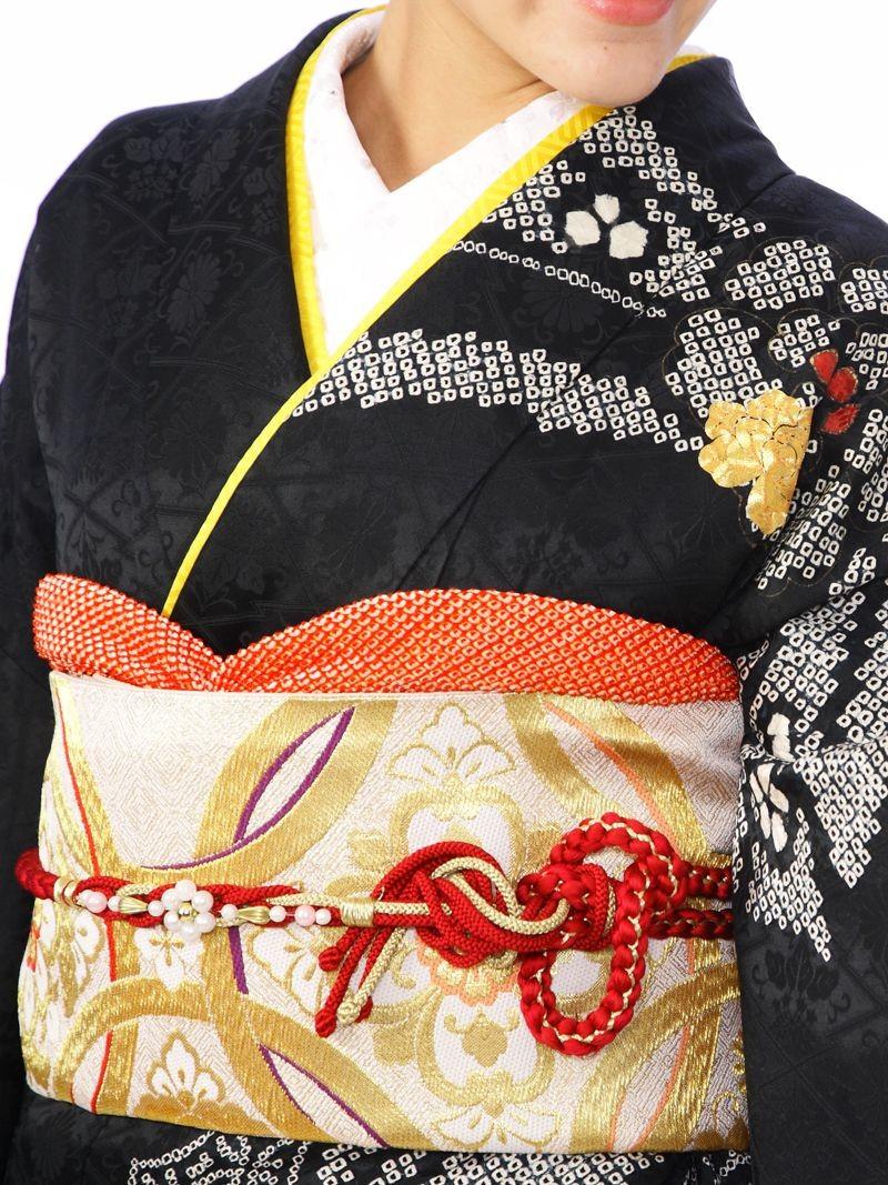 振袖4S553/黒地/のしめ柄金糸牡丹菊(裄長
