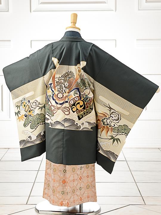 七五三(5歳男袴)sftm216グレー地に兜/華丸紋