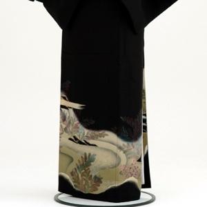 黒留袖レンタルC7003モスグリーン山水