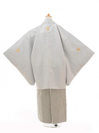 ジュニア袴男児0986シルバー紋付×黒シルバー縞袴
