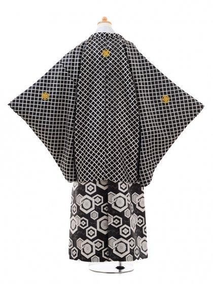小学生卒業式袴男児0971黒格子×白黒ぼかし